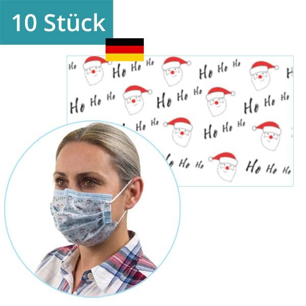 """10 Stück - Mund-Nasen-Maske """"Weihnachtsmann"""" mit Bügel"""