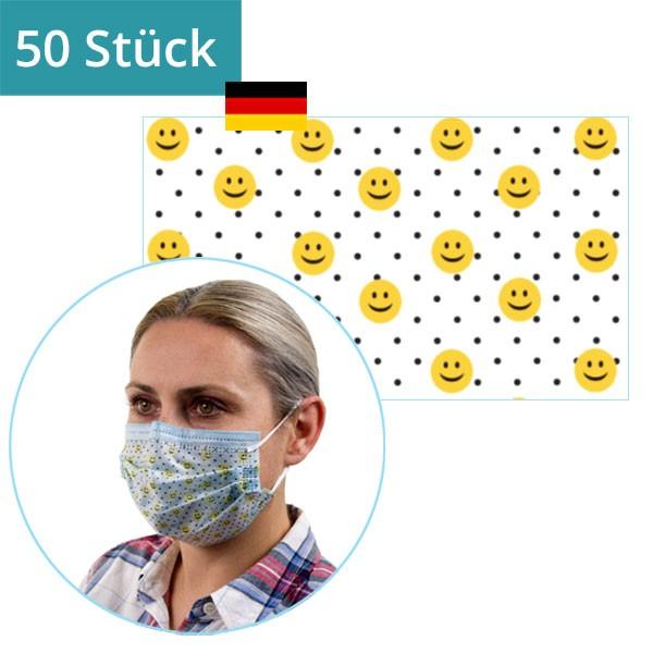 """50 Stück - Mund-Nasen-Maske """"Emoji"""" mit Bügel"""